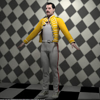 3d model of Freddie Mercury singer rigged and animated
