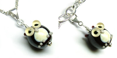 Glass owl bead pendant and charm