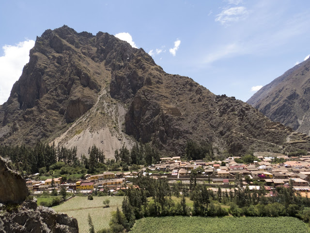 View of Ollantaytambo Peru with mountain backdrop