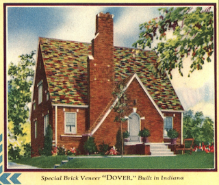 page of 1930 Sears Modern Homes catalog showing a brick Dover built in Indianapolis