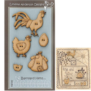 Lynette Anderson Designs RISE & SHINE Stitchery Pattern + BARNYARD HENS Button Pack