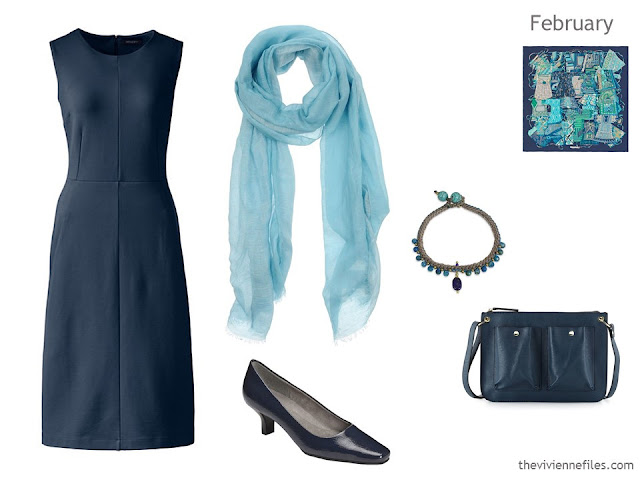 navy dress with accessories