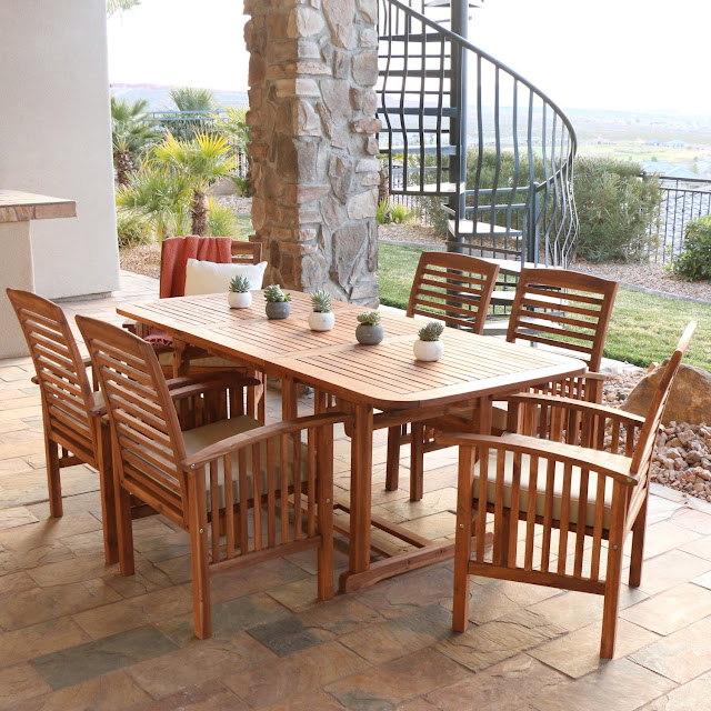 WE Furniture 7-Piece Acacia Wood Dining Set with Cushions