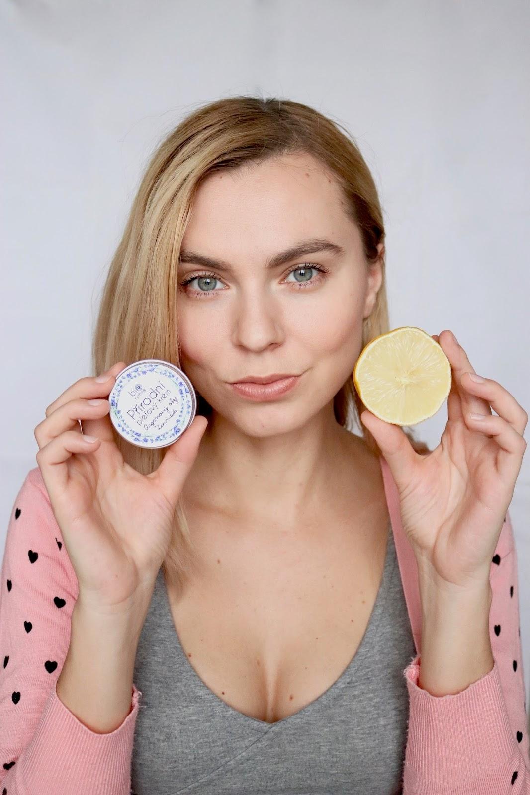 organic cosmetic on face