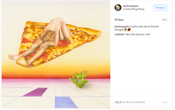 dibujo de una pareja teniendo relaciones sobre una pizza gigante