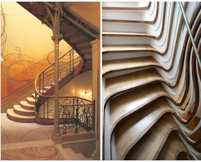 Examples of differences in details of Art Deco & Art Nouveau house ornaments