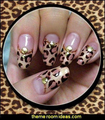 Nail Art Stickers Decals in Glitter LEOPARD ANIMAL PRINT
