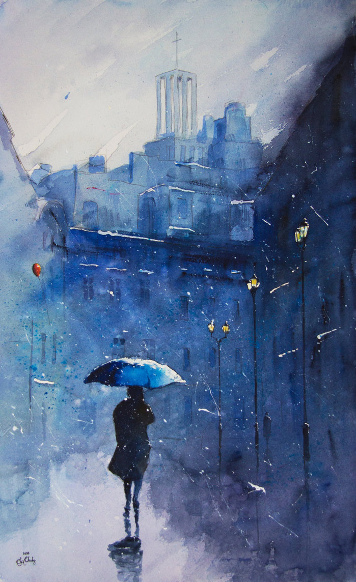 13-Rain-on-the-Krzywa-Street-Grzegorz-Chudy-sanderus-Dreams-Started-with-Watercolor-Paintings-www-designstack-co