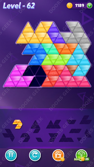 Block! Triangle Puzzle Champion Level 62 Solution, Cheats, Walkthrough for Android, iPhone, iPad and iPod