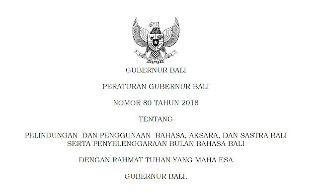 Peraturan Gubernur Bali Nomor 80 Tahun 2018