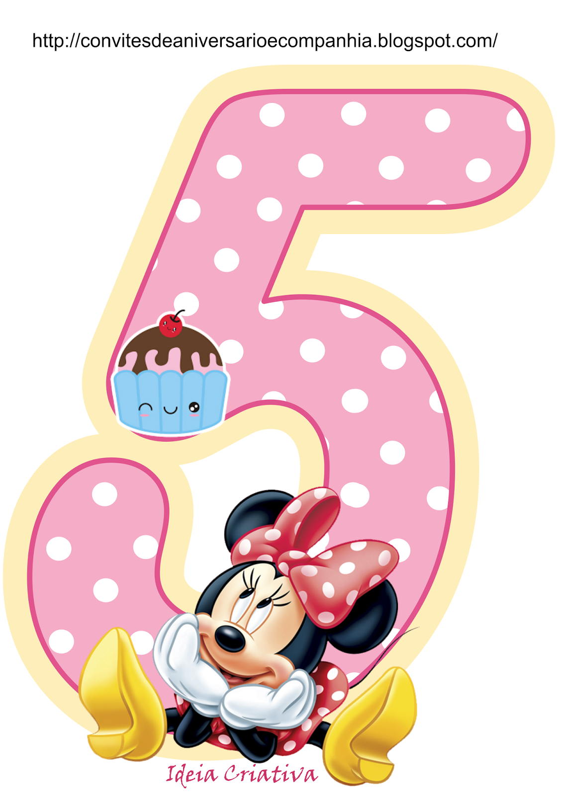 Minnie Cumple 5 Años para imprimir gratis.