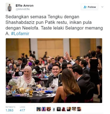 Neelofa duduk bersebelahan Tengku Amir