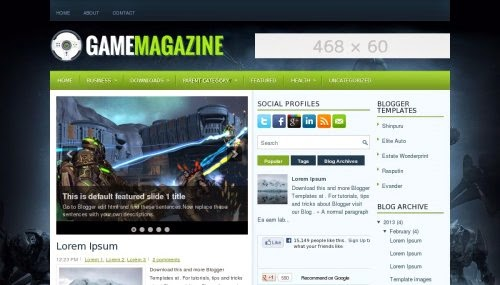 game magazine ads ready Blogger Template 2014 for blogger or blogspot,download free ads ready blogger template,black green combination blogger template,3 column blogger teplate,social bookmark icon 2014 2015