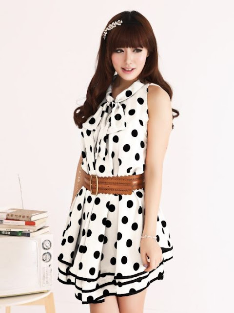 Korean Polkadot Dress Hitam Putih Dropship Tanah Abang