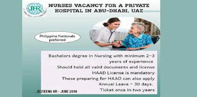 Staff Nurses for a Private Hospital in Abu Dhabi- UAE