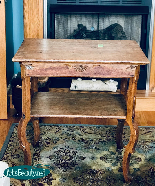antique parlor table makeover before using general finishes