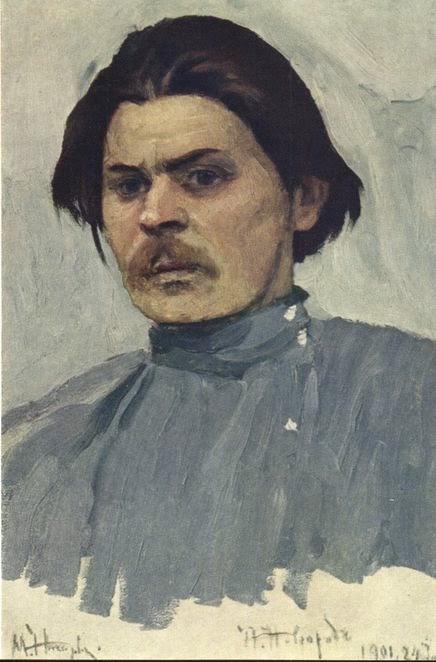 Retrato de Alexei Maksimovich Gorky - Pinturas de Mikhail Nesterov - (Simbolismo) Russo