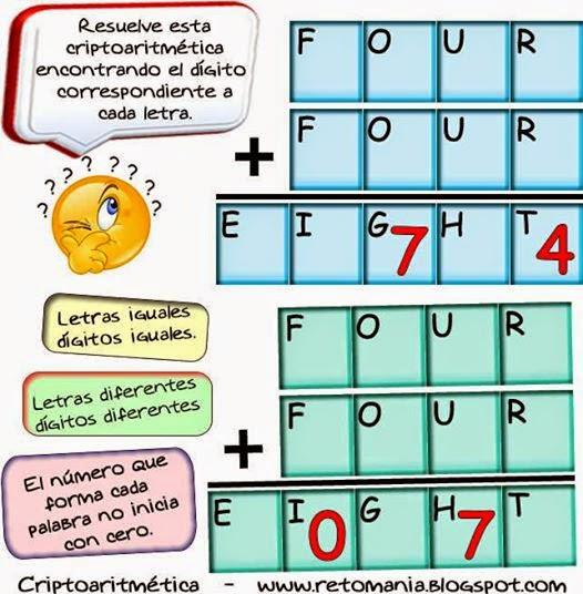 Criptoaritmética, Alfamética, Sólo para Genios, Los números que faltan, Desafíos matemáticos, Retos matemáticos, Problemas matemáticos, Problemas para pensar, Problemas con solución, Descubre el Número