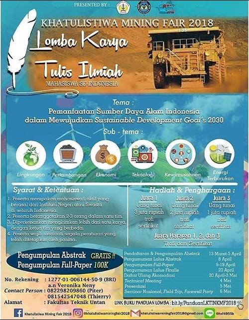 Lomba Karya Tulis Ilmiah Khatulistiwa Mining Fair 2018 Univ. Tanjungpura