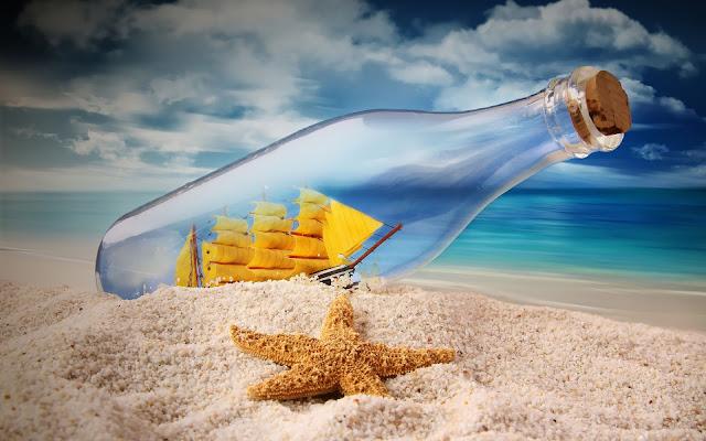fles schip strand 3d wallpaper