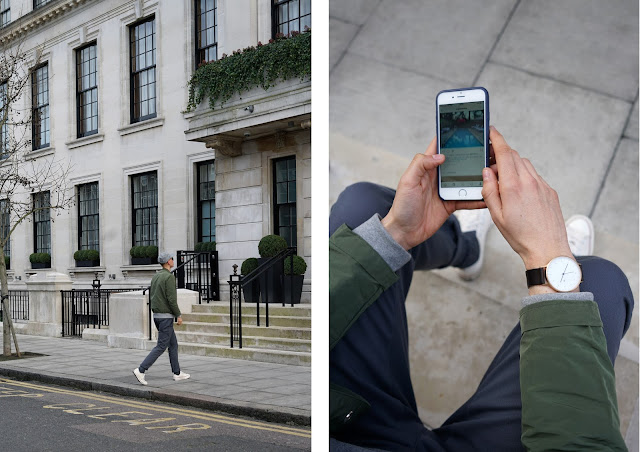 matthew pike wears green folk clothing jacket, grey dickies chinos and beige converse, mr porter style council