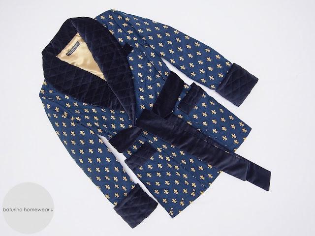 mens smoking jacket velvet cigar smoker robe warm soft silk gentleman robes navy blue gold dressing gown vintage style english victorian edwardian