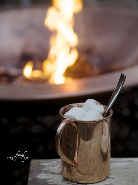 autumn evening with hot cocoa by fire pit
