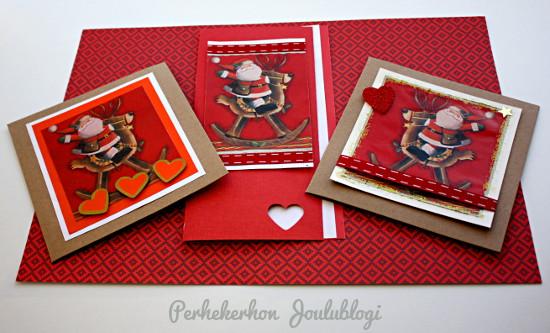 Malleja - Kolme erilaista joulukorttimallia samasta kuva-aiheesta