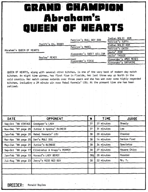Game Dog World: GR CH ABRAHAM'S QUEEN OF HEARTS (8XW)