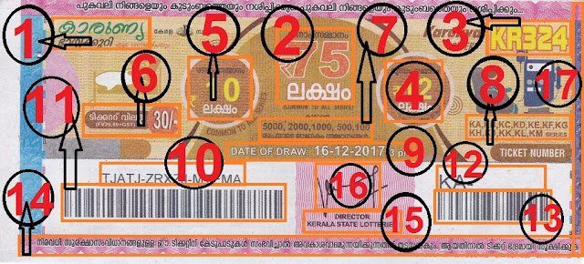Understanding the ticket of KARUNYA Lottery front view