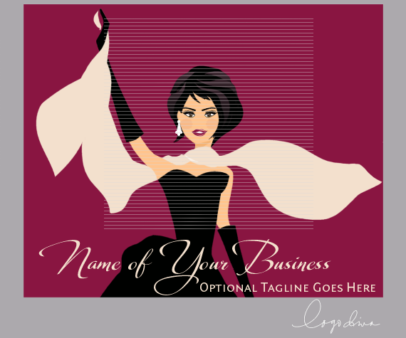 Gorgeous Brunette Character in Black Evening Gown with Gloves Logo by Logo Diva www.logodiva.net
