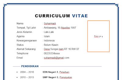 Contoh Cv Curiculum Vitae Yang Baik Untuk Melamar Magang Di