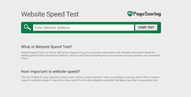 website speed test Pagescoring