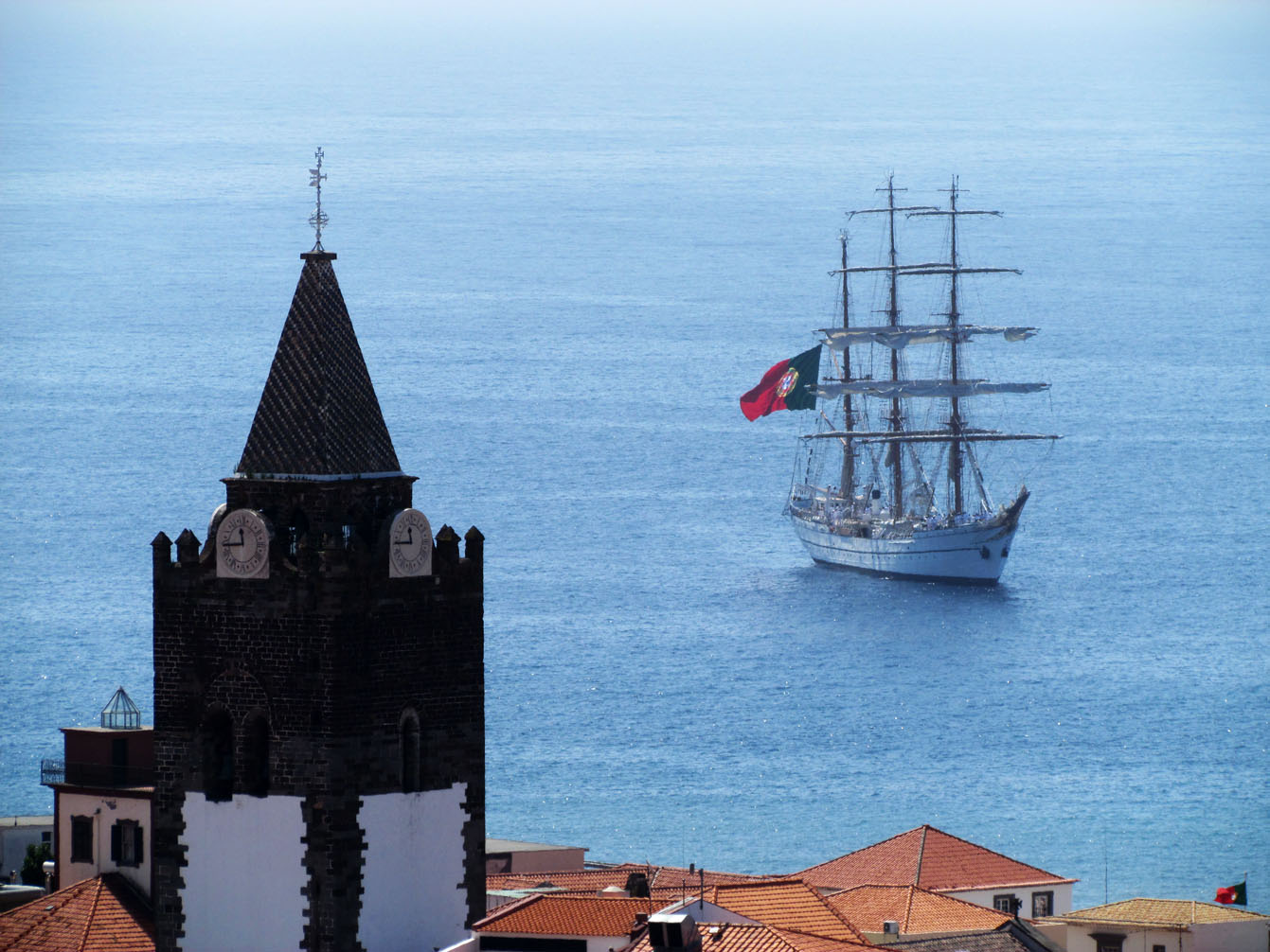 Sagres training ship and the cathedral