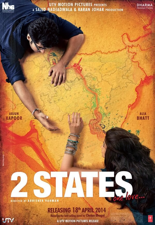 Arjun Kapoor and Alia Bhatt laying on India map in official poster of 2 States One Love movie