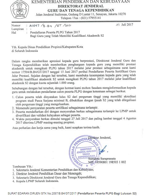 Persyaratan Pendaftaran PLPG S2 Jalur Akademik Sesuai SE Dirjen GTK No.2087/B.B4/GT/2017