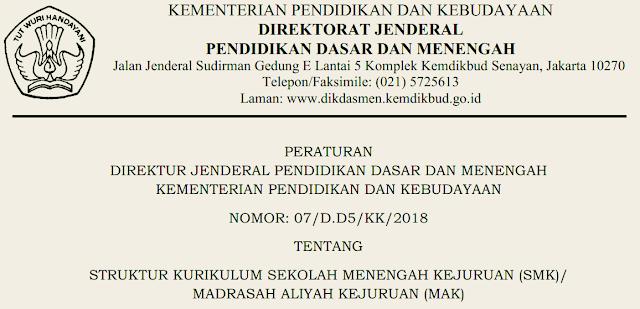 Peraturan DIRJEN DIKDASMEN Nomor 07/D.D5/KK/2018