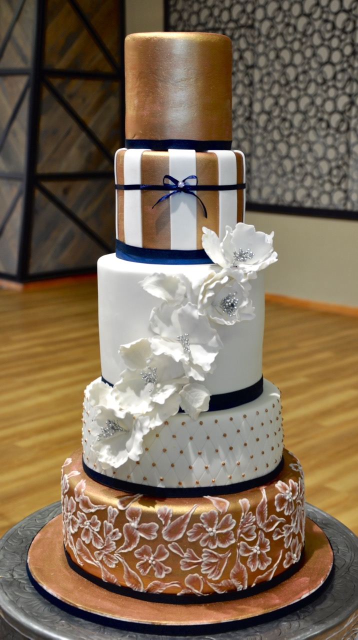navy blue and rose gold wedding cake rozanne s cakes 5 tier gold white and navy wedding cake 17760