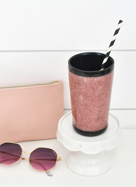 DIY Rose Gold Glitter Tumbler made with the We R Memory Keepers Spin It tumbler turner by Aly Dosdall