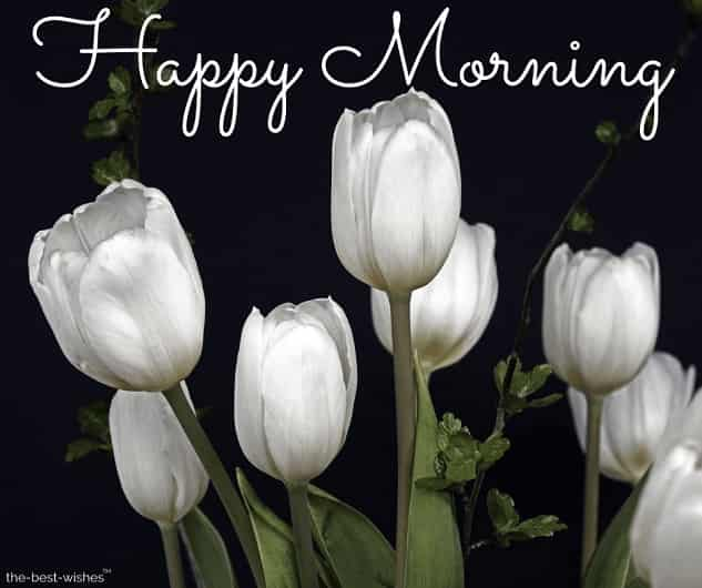 happy morning images with white flowers