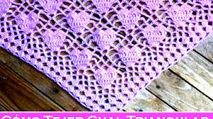 Cómo tejer chal triangular con motivo de corazones / Tutorial Crochet
