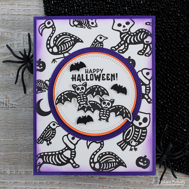Happy Halloween Card by Juliana Michaels featuring Newton's Nook Designs Spooky Skeletons Stamp Set