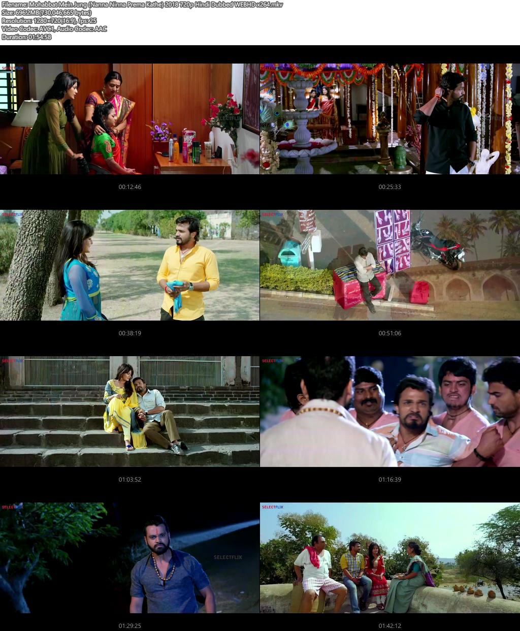 Mohabbat Mein Jung (Nanna Ninna Prema Kathe) 2018 720p Hindi Dubbed WEBHD x264 | 480p 300MB | 100MB HEVC Screenshot