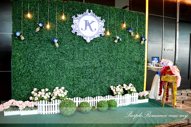 grass backdrop, garden theme, wedding setup, decoration, decor, deco, backdrop, stage, photo booth backdrop, instant print service, green, white fence, pink flowers, maison jars, logo JK, light bulbs, rustic, bangsar south, nexus connexion, gazebo, walkway, pom pom flowers, royal blue, light blue, carpet, ballroom, oak room, ROM, wedding malaysia, seremban, melaka, pahang