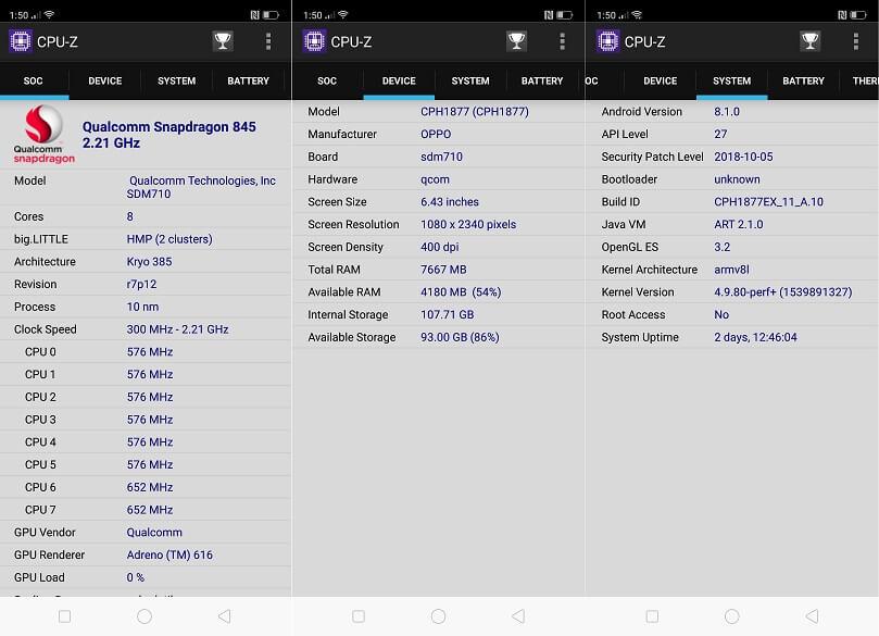 OPPO R17 Pro CPU-Z Info