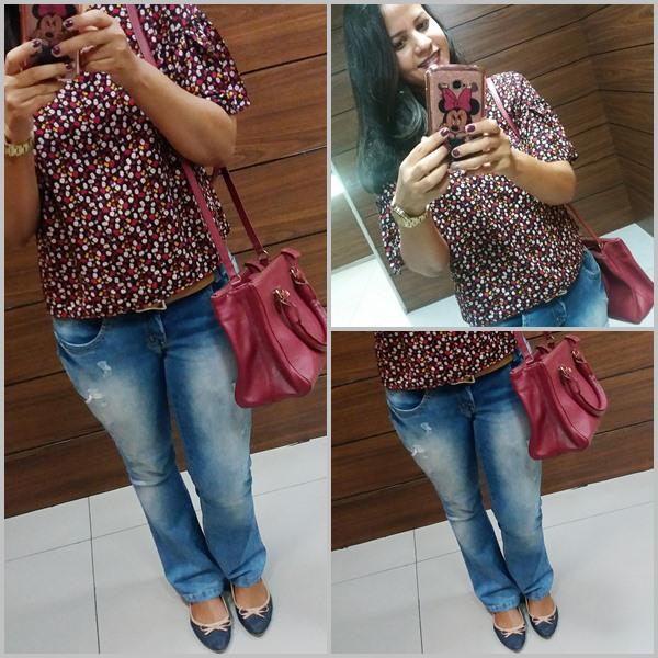 Look do dia no sábado: Blusa; Calça jeans; Bolsa; Sapatilhas; Relógio e brincos;