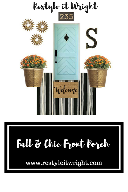 fall mood board front porch with rug expedition and gold potted mums