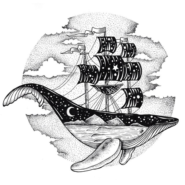 23-Whale-and-Ship-Thiago-Bianchini-Eclectic-Collection-of-Drawings-and-Illustrations-www-designstack-co