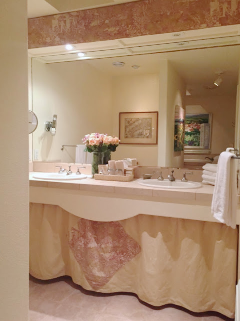 skirted vanity in bathroom