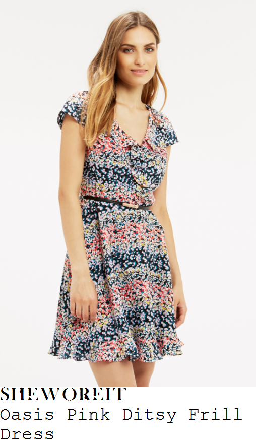 gaby-roslin-oasis-pink-white-blue-purple-and-multicoloured-ditsy-floral-print-cap-sleeve-v-neck-wrap-front-frill-detail-fit-and-flare-dress